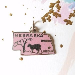 Nebraska Enameled Vintage State Travel Charm